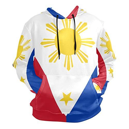 WaKaBlues Philippine Flag Proud Men's Hipster Hip Hop Classic Pullover Long Hoodie Sweatshirts Jacket