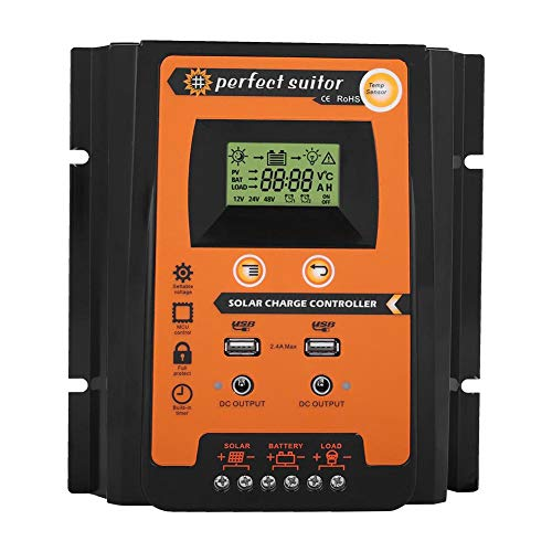 (Keenso 12V/24V 30A/50A/70A MPPT Solar Charge Controller Solar Panel Battery Regulator Dual USB LCD Display (50A))