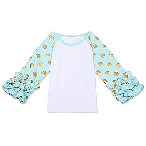 Little Girls' Long-Sleeve Icing Ruffle T-Shirt Gold Polka Dots Cotton Top Boutique Athletic Workout Undershirt Turquoise - Turquoise Girls Shirt