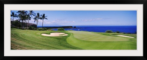 GreatBIGCanvas ''Golf course at the oceanside, The Manele Golf course, Lanai City, Hawaii'' by Photographic Print Photographic Print with Black Frame, 48'' x 15'' by greatBIGcanvas