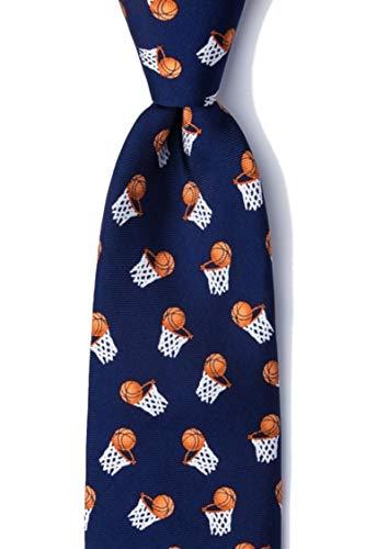 Men's 100% Silk Navy Blue Basketball Hoops Sports Tie Necktie