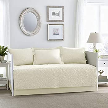 Amazon.com: 5 Piece Ivory Floral Daybed Cover Set ...