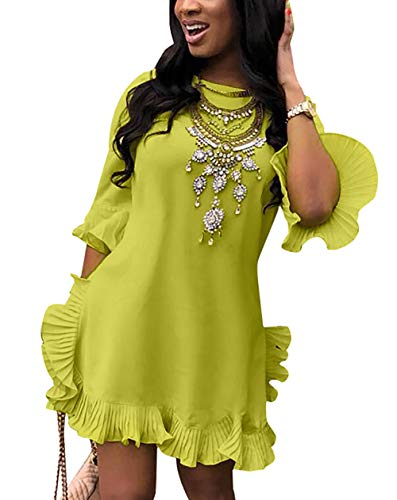 Women's Casual Short Sleeve Solid Loose Fit Lace Patchwork Swing Tunic Tops Light Yellow from Lucuna