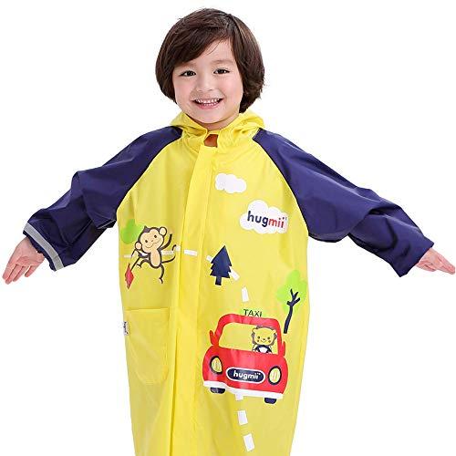 (Hugmii Durable Nylon Bright Waterproof Hooded Rain Jacket Raincoat for Kids Boys and Girls (Medium, Yellow))