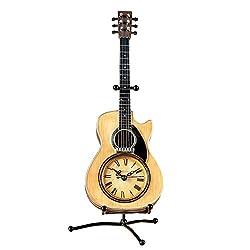 Tabletop Vintage Guitar Clock w/ Stand, Natural