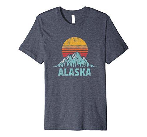 Mens Vintage Alaska Retro Distressed Mountains Tee XL Heather (Alaska Tee)