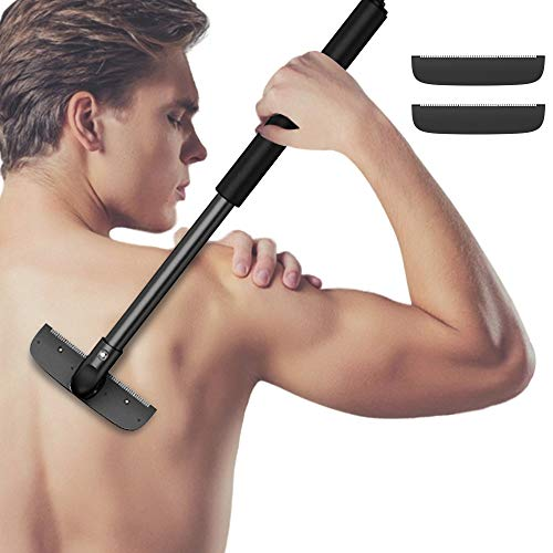 Back Shaver - Back Hair Removal and Body Shaver 3 Replacement Wider Safety Razor Blades Body Groomer Trimmer 18 Inch Stretch Ergonomic Handle Painless Wet or Dry Back Hair Shaver for Men