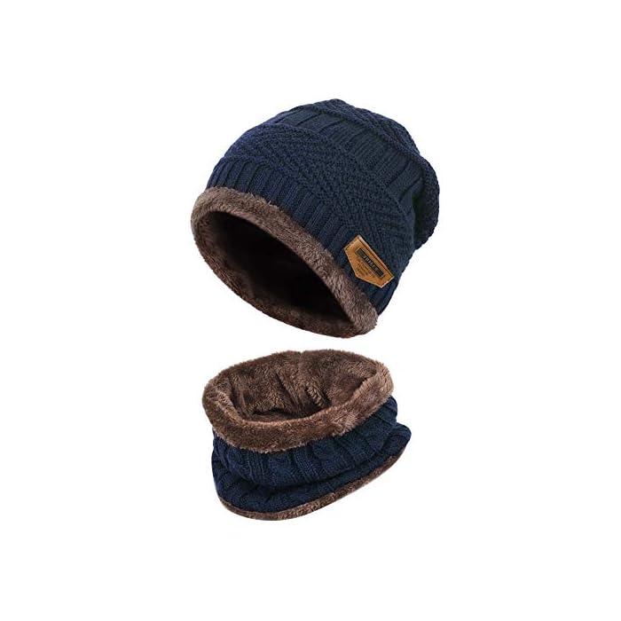 41W6ET5bl0L Gorro de punto y bufanda con forro polar grueso y cómodo Tejido fino de punto acrílico Acrylic knit & fleece lining