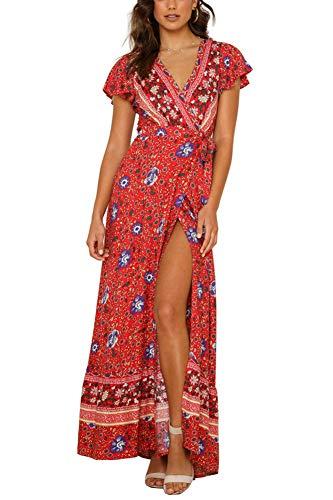 Yoonsoe Women's Summer Boho Floral Print Maxi Dress V Neck Split Long Party Wrap Dresses, red&Blue-Flower, S