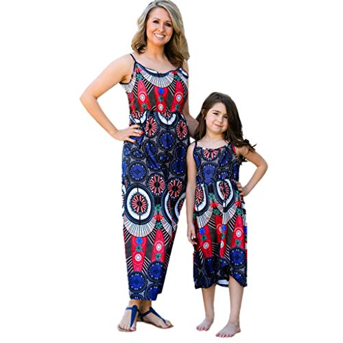 Kehen Family Clothes Outfits Mommy and Me Maxi Dress Sleeveless Girl Swing Dress Women Straps Flower Dresses (#2 Red (Mom), Small -
