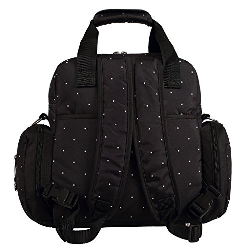 LCY Bolso cambiador grande de 5 piezas, 3 opciones de transporte Black with White Dots Black with White Dots