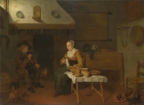 Oil Painting 'Quiringh Van Brekelenkam An Interior With A Man And A Woman Seated By A Fire ' Printing On High Quality Polyster Canvas , 10 X 14 Inch / 25 X 35 Cm ,the Best Laundry Room Decoration And Home Gallery Art And Gifts Is This Vivid Art Decorative Canvas Prints