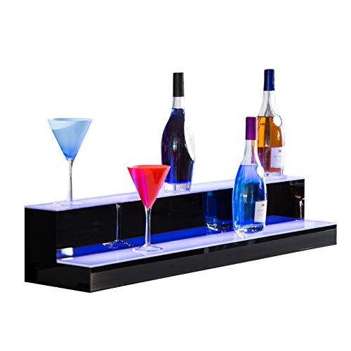 Nurxiovo 40 Inch LED Lighted Liquor Bottle Display 2 Step Illuminated Bottle Shelf 2 Tier Home Bar Drinks Lighting Shelves with Remote Control