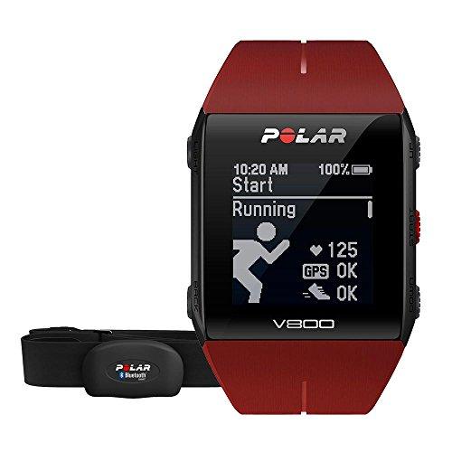 Polar V800 HR, Reloj para triatlón con GPS y Monitor de Actividad con Frecuencia Cardiaca, Color Rojo