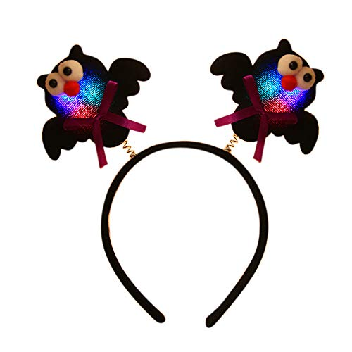 Meetsunshine Halloween Halloween Headbands, Luminous Pumpkin Bat Headbands Festival Party Bar Props Dress up Accessories for Children Boys Girls Baby Men Women (C)
