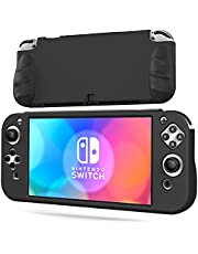 OIVO Switch OLED Protective Silicone Case Compatible with Nintendo Switch OLED, Switch OLED Soft Protective Cover with 2 Game Slots for Switch OLED Console - Black