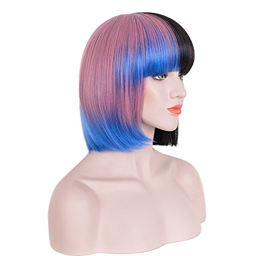 Netgo Pink and Black Costume Hallowen Wigs for Women Short Straight Party Wigs