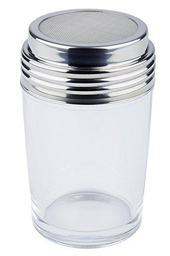 Spargicacao con coperchio APS altezza 12 cm contenitore in vetro con rete in acciaio INOX 6,5 x 6,5 cm