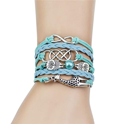 FOKLC Bracelet Silver Color Owl&Giraffe Charm Leather Braid Bracelet Bangle Jewelry 6 Colors for Women