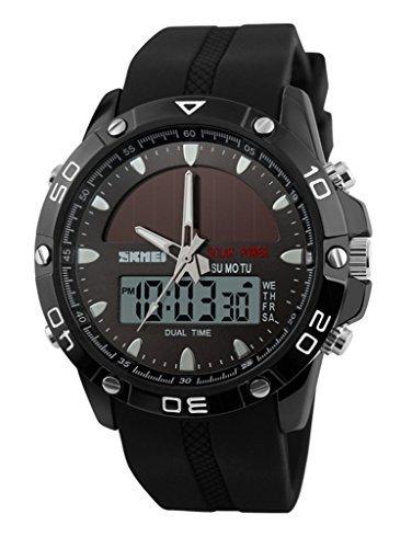 Auspicious beginning Multifunction digital LED solar & electronic powered sport watches, black by Auspicious beginning