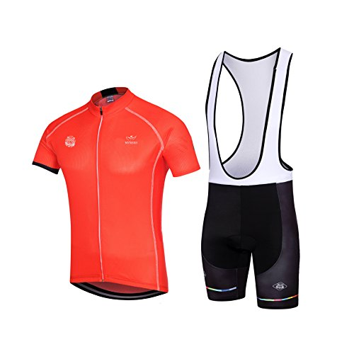 MYNEKO Mens Upgrade Pro Team Style Short Sleeve Cycling Jersey Suit Jersey and Bib Shorts S-XXXL