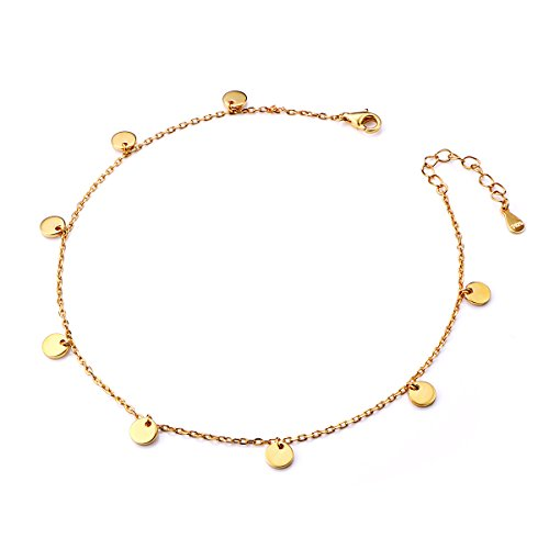 - Boho Dot Disc Anklet for Women S925 Sterling Silver Adjustable Foot Ankle bracelet Plating Gold
