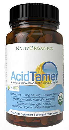Natural Acid Reflux Relief USDA Organic Antacid Acid Reflux Supplement - 100% Vegan Powerful Acid Reducer for Fast Natural GERD and Heartburn Relief - 60 Vegan Caps - AcidTamer