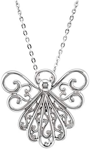 Silver Tone Large Pendant Metal Charm PRAYING ANGEL w Wings 18 Necklace Unique Cute Girl Faith Jewelry Black Cord