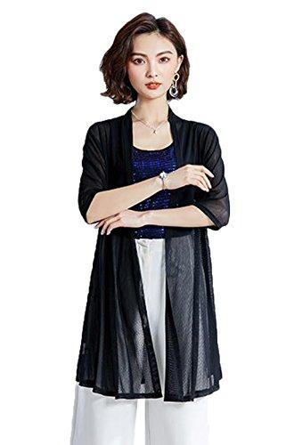 [ジンニュウ] レディース ロングカーディガン UVカット 紫外線対策 七分袖 夏 薄手 ゆったり 大きいサイズ おしゃれ 無地