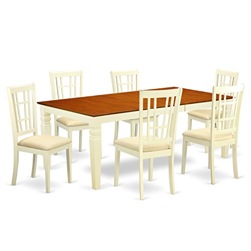 East West Furniture LGNI7-BMK-C 7 PC Kitchen Table Set with One Logan Table & Six Dining Chairs in Buttermilk & Cherry Finish