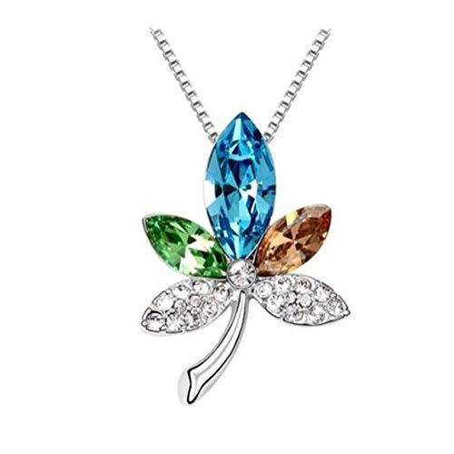 [Next-Fri New Design Austrian Crystal Pendant Necklace Maple Leaf Love Women(Colorful)] (Fantasy Life Angel Costume)