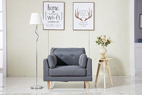 Divano Roma Furniture Mid Century Modern Ultra Plush Linen Fabric Chair, Color Dark Grey and Light Grey (Dark Grey)