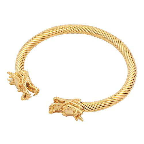 (EV.YI Jewels Golden Dragon Copper Cuff Bangle Royal Dragon Bracelet Wristband Best Gift for Men Women )