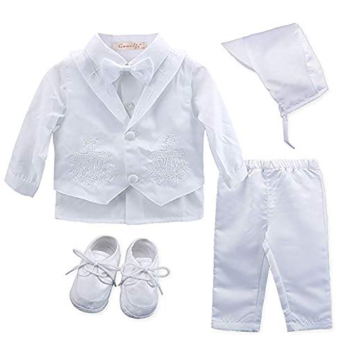 Baby Boy's 5 Pcs Set White Christening Baptism Outfits Cross Applique Embroidery Vest Long Sleeves Suit - Babys Baptism Cross