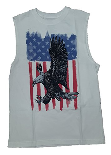 ying Over American Flag White Sleeveless Muscle Shirt - Small (Faded Glory American Flag)
