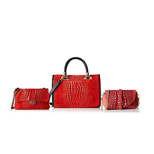 Rosso Pelle Made Triplo Borse In Chicca Bundle Italy xIaz0q4wSw