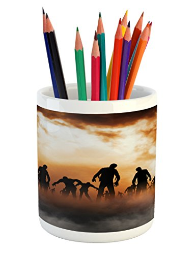 Ambesonne Halloween Pencil Pen Holder by, Zombies Dead Men Walking Body in the Doom Mist at Night Sky Haunted Theme Print, Printed Ceramic Pencil Pen Holder for Desk Office Accessory, (Halloween Day Of The Dead Differences)