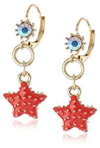 "Betsey Johnson ""Jewels of the Sea"" Star Fish Drop Earrings"