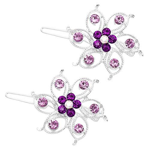 Purple Rhinestone Crystal - Rosemarie Collections Women's Crystal Hair Clip Rhinestone Barrette Hair Accessories Large Flower (Purple)
