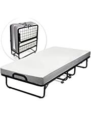 """Milliard Diplomat Folding Bed/Rollaway Guest Bed - Twin Size - Extra Thick Memory Foam Mattress and Strong Sturdy Frame – 75"""" x 38"""""""