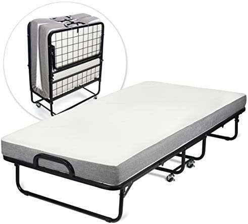 "Milliard Diplomat Folding Bed – Cot Size - with Luxurious Memory Foam Mattress and a Super Strong Sturdy Frame – 75"" x 31"