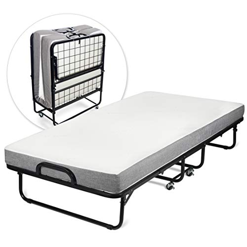 - Milliard Diplomat Folding Bed - Twin Size - with Luxurious Memory Foam Mattress and a Super Strong Sturdy Frame - 75