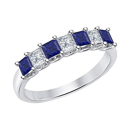 (Princess Cut Blue Sapphire & Diamond Half Eternity 14k White Gold .925 Sterling Silver Wedding 7-Stone Band Ring for Women)
