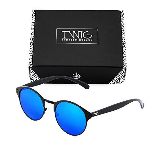 mujer sol Negro redondo TWIG Azul de PISSARRO hombre espejo Gafas p4qTx0w5Hn