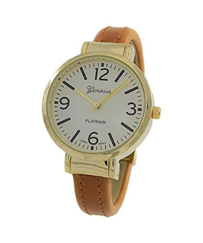 Collection Brown Leather Watch (Rosemarie Collections Women's Round Face Vegan Leather Cuff Bracelet Watch (Cognac Brown))