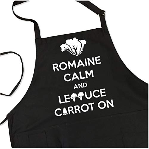 Romaine Calm and Lettuce Carrot On Apron - Funny Vegetarian Apron- 1 Size Fits All Chef Quality for Kitchen or BBQ - Pockets, Adjustable Neck and Long Waist Ties