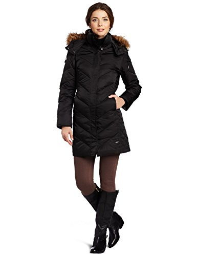 Kenneth Cole New York Women's Matte Satin Chevron Down, Black, Large (Kenneth Cole Womens Coat)