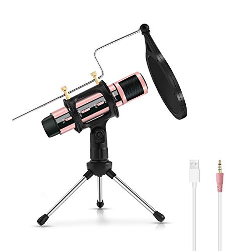 USB Microphone, ZealSound Metal Condenser Recording Microphone for Laptop MAC Windows Computer and Phone w/Stand for ASMR Zoom Stream & YouTube Video Studio Voice Overs Broadcast (Rosegold)