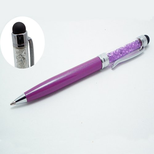 - Xtra-Funky Exclusive High Quality Universal Capacitive Soft Rubber Tip Stylus & BallPoint Pen Combo With Coloured Crystal shaft Ideal For All Types OF Touch Screen Devices / iPad 1 2 3 Mini / iPhone 3 4 5 / Samsung / Nokia / BlackBerry / Kobo / Tablets and many more - PURPLE
