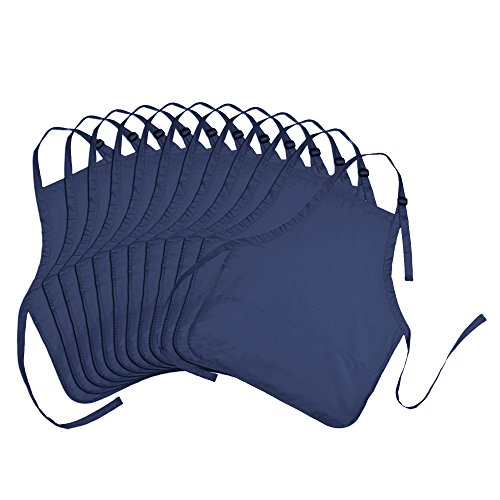 Apron Commercial Restaurant Home Bib Spun Poly Cotton Kitchen Aprons (3 Pockets) in Navy Blue 12 Pack